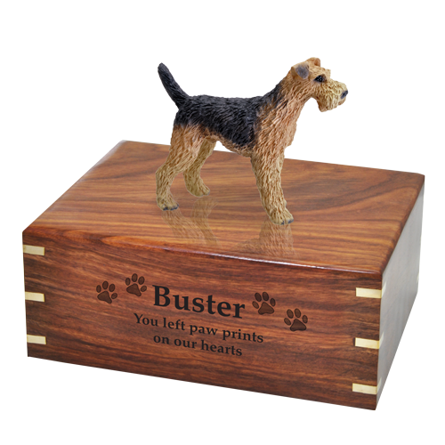 Wholesale Airedale terrier dog figurine urn with engraved based