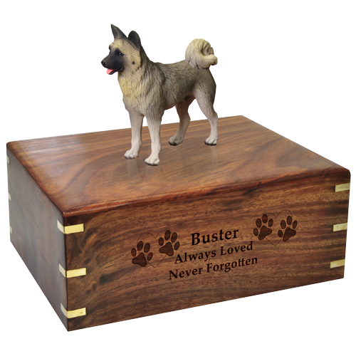 Wholesale Akita, Gray Dog Figurine Urn with engraved front
