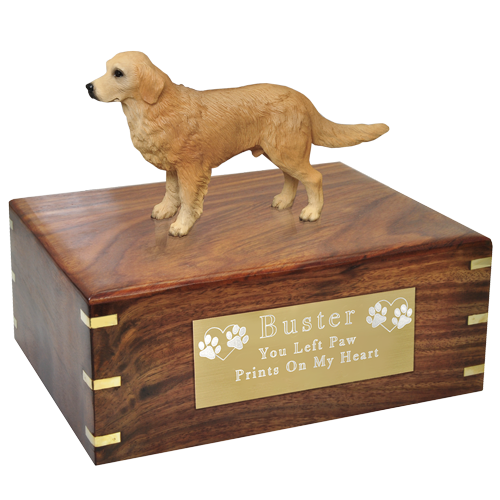 Wholesale Golden Retriever dog figurine urn with engraved plaque