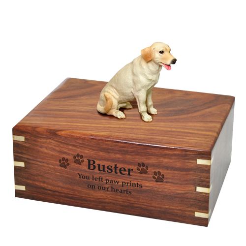 Wholesale Labrador Retriever, Yellow wood urn with engraved name