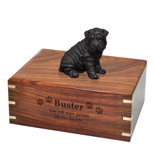 Wholesale Shar Pei dog figurine urn with engraved front