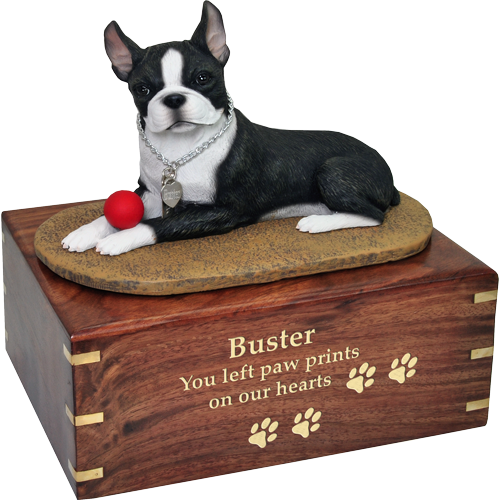 Wholesale Boston Terrier dog figurine wood urn engraved with gold