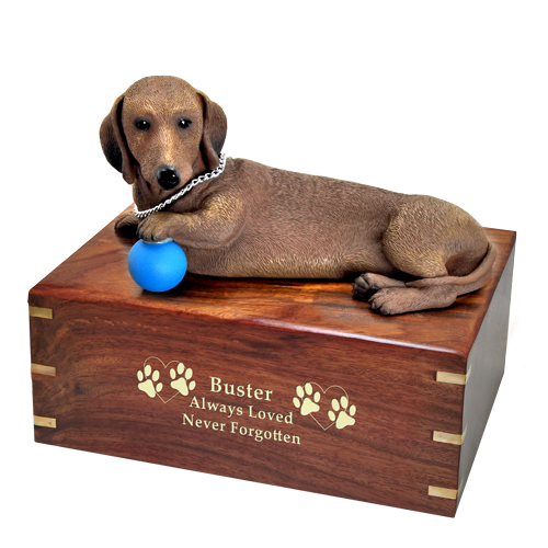 Dachshund dog urn with engraved gold letters