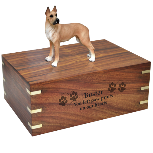 Wholesale Great Dane Fawn dog figurine with engraved wood urn