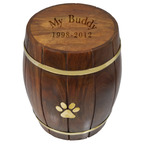 Wholesale Paw Print Wood Barrel Pet Urn shown engraved