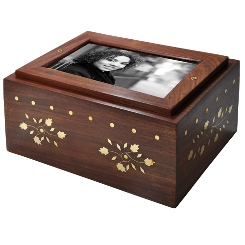 Wholesale Photo Wood Urn Slider shown with b&w photo plaque