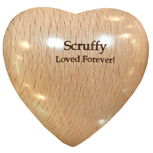 Wholesale Oak Wooden Heart Keepsake Pet Urn shown engraved