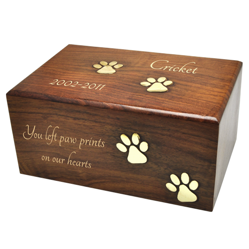 Wholesale Pet Urns: Paw Prints Wood Urn with gold-filled engraving