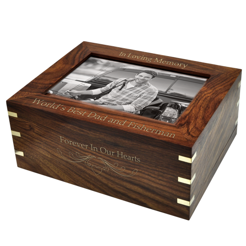 Wholesale Perfect Wooden Box Urn with Photo Frame, Large with gold fill