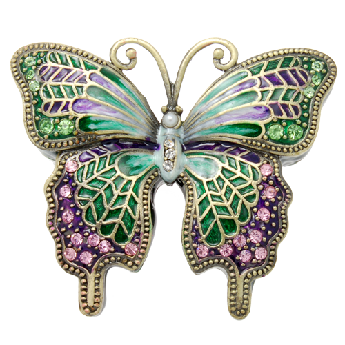 Wholesale Urn Keepsake: Green Butterfly w/ Pink Crystals