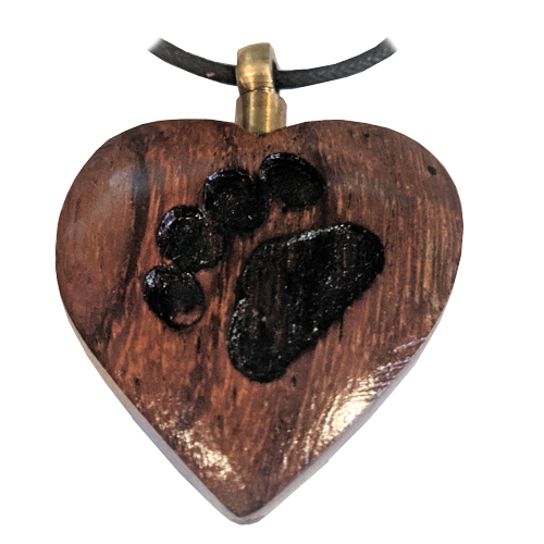 Wooden Heart with Paw Print cremation jewelry