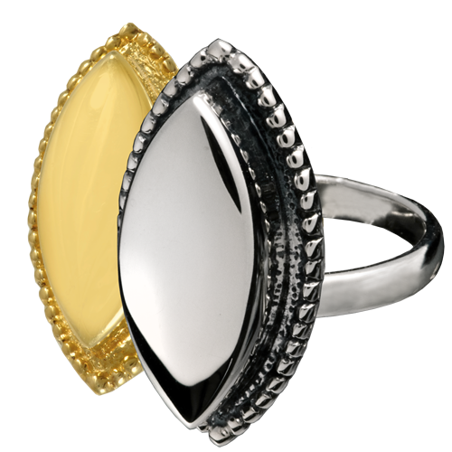 Wholesale Pet Cremation Jewelry Oval Ring shown in silver and gold