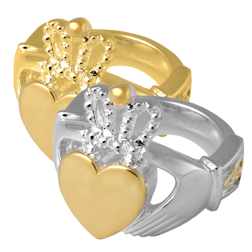 Wholesale Pet Urn Jewelry: Claddagh Ring shown in silver and gold metals