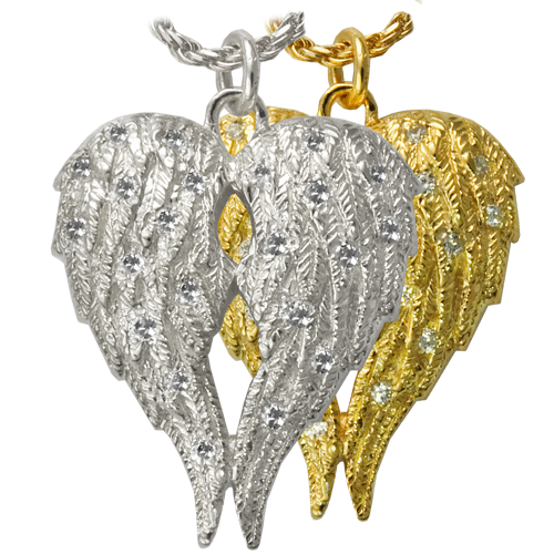 My Angel Companion Urn pet jewelry shown in silver and gold metal options
