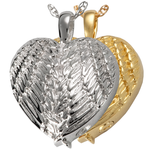Angel Wing Heart jewelry shown in silver and gold metal options