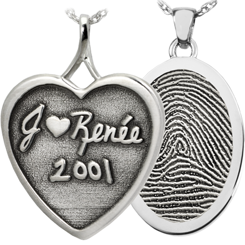 Samples of engraved jewelry pendants including handwriting and fingerprints
