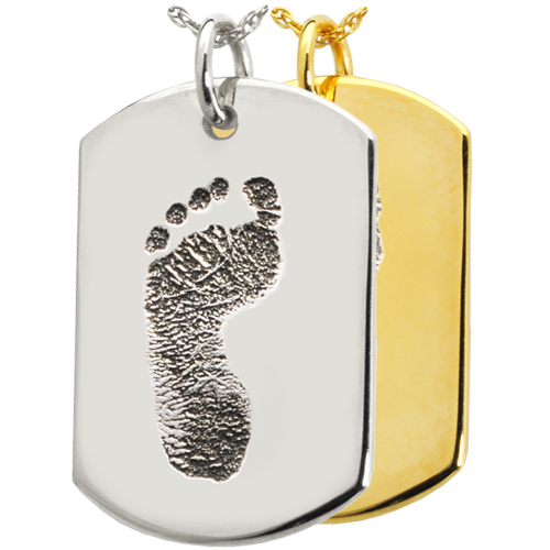 Wholesale B&B Flat Dog Tag Footprint Jewelry shown in silver and gold