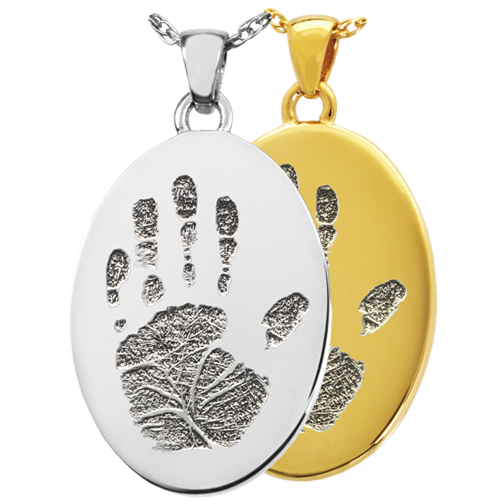Wholesale B&B Oval Handprint Jewelry shown in silver and gold