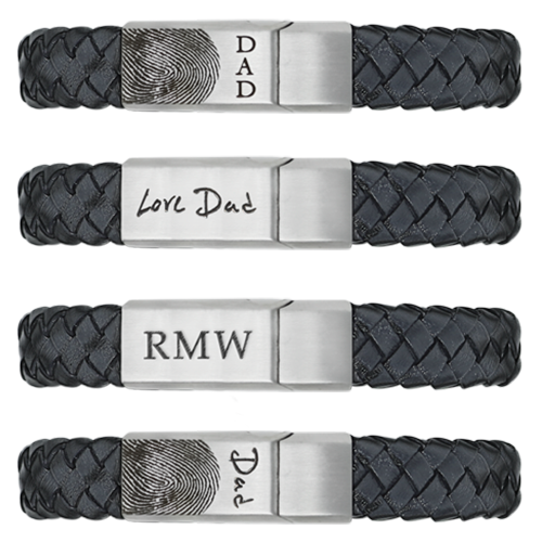 Leather and Stainless Steel Bracelet sample engraving