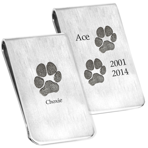 sterling silver money clip with actual paw print designs