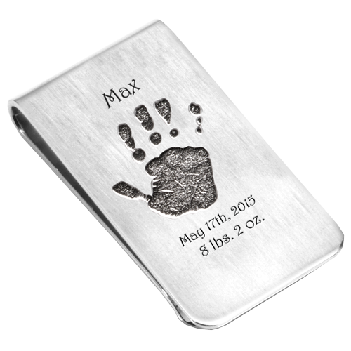 Baby Handprint Silver Money Clip personalized with name, date and weight