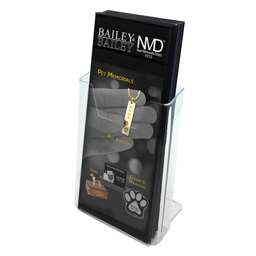 NMD Pets Memorial tri-folds in acrylic holder