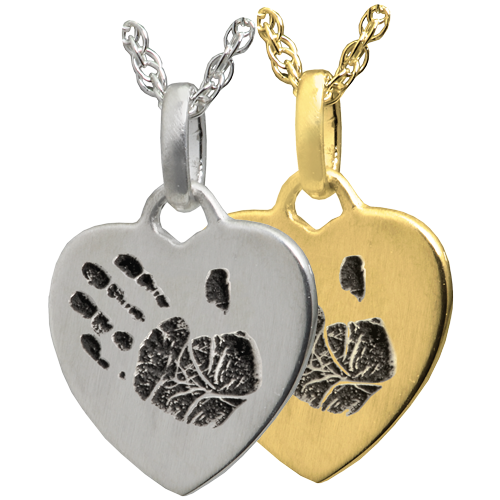 Wholesale Petite Heart with Handprint necklace charm