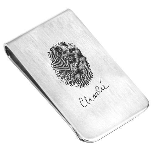 natural fingerprint style engraved on money clip with signature