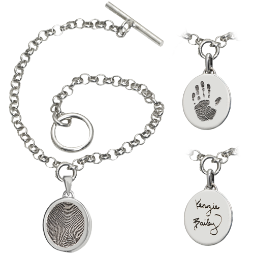 Toggle Bracelet with Personalized Petite Oval