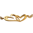 urn opening shown of linked in love gold-plated cremation jewelry bracelet