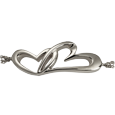detail of linked in love heart pendant cremation jewelry bracelet
