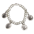 Sterling Double Link Bracelet with hand print charms