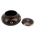 Wholesale Pet Cremation Urns: Raku Pawprints shown with open lid