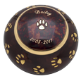 Raku pawprints pet urn shown with lid engraved