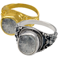 Ring with Clear Glass Front wholesale pet jewelry shown in silver and gold