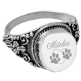 Front view of Wholesale Pet Cremation Jewelry: Round Ring pet engraving