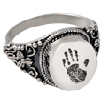 Wholesale Fingerprint Cremation Jewelry: Round Ring- Handprint