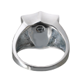 Urn opening shown on back of shield cremation ring