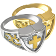 Wholesale Pet Jewelry Cross Shield Ring shown in silver and gold metal options