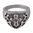 Front shown of Men's Cross Ring- Black urn jewelry