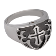 Sterling Silver Men's Cross Cremation Ring Black