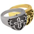 Men's Cross Ring- Black wholesale pet jewelry shown in silver and gold