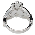 Threaded enclosure for urn compartment shown on back of ring