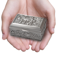 wholesale mother and children urn keepsake shown in hands for size scale