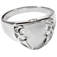Pet cremation jewelry engravable shield ring front