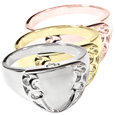 Wholesale Pet Jewelry Engravable Shield Ring shown in silver and gold