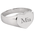Silver Bold Heart Ring with name inscribed with block font