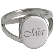 "Wholesale ""V"" Ring Cremation Jewelry with script engraving sample"