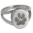 "Silver Oval ""v"" Ring with actual Pawprint"