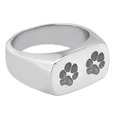 2 Paw Prints engraved rectangle ring